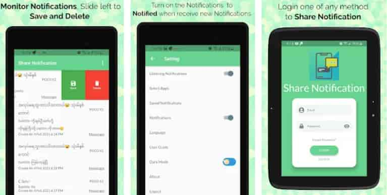 Share Notification and Monitor On Noti App